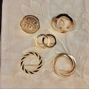 Vintage lot 5 gold brooches
